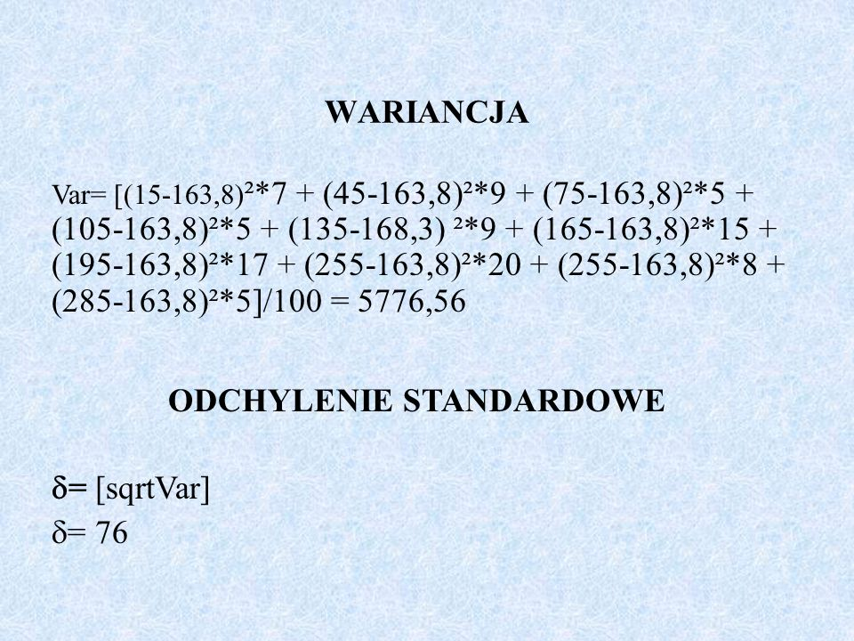 ODCHYLENIE STANDARDOWE = [sqrtVar] = 76